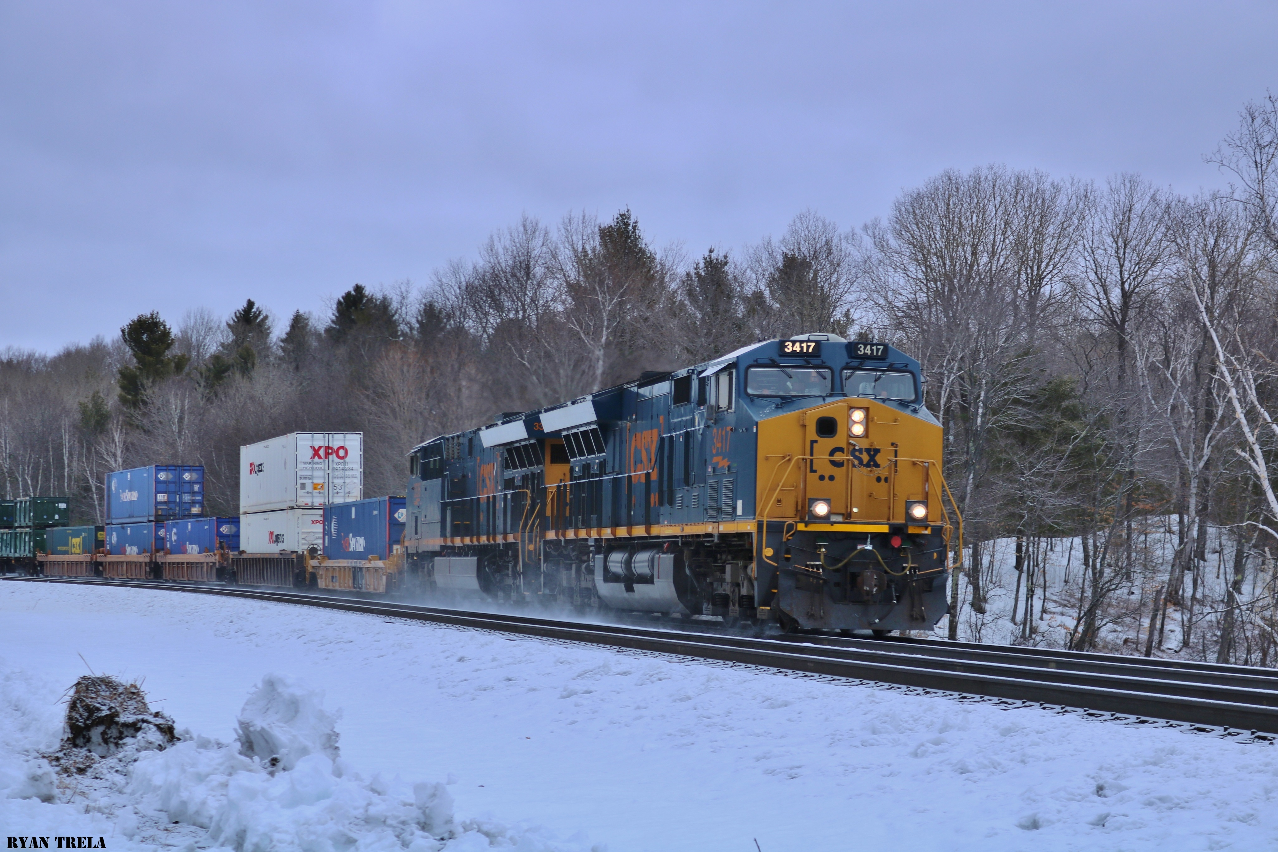 CSX intermodal Passing by Muddy Pond: The NERAIL New England